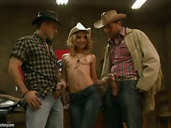 tight cowgirl blondie has two cocks