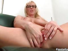 Cute girl with big tits masturbating