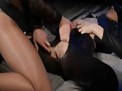 Blindfolded babe gets sex by strap on