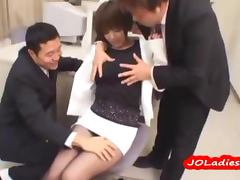 Office Lady Getting Her Tits Rubbed Pussy Stimulated With Toys By 2 Guys On The Desk In The Office