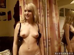 Sweet Blue Angel changes her clothes in a dressing room tube porn video