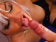 Hot blonde fucks in her anal and swallows cum