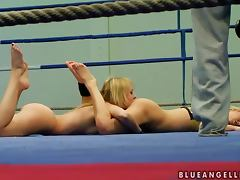 Two blonde girls have wild lesbian sex on the ring