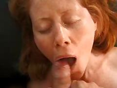 Redhead likes cum on her face tube porn video