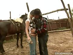 Farm life can be hard especially when the cowboy's fucking tube porn video