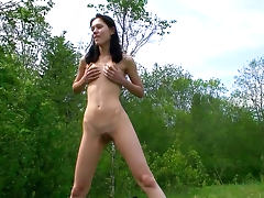 Pissing, Babe, Brunette, Cute, Nude, Outdoor