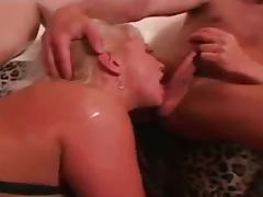 Slutty blonde double anal drilling