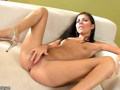 Pure Angel enjoys finger fucking her nice pussy indoors tube porn video