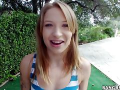 Cute 18 year old babe gives great handjob in POV video