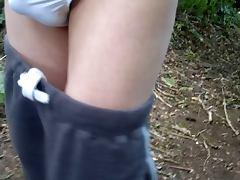 panties on in the woods