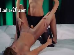 Lesbian strap on hardcore sex
