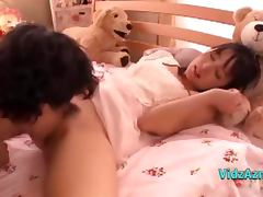 Cute Asian Girl Sucking Cock In 69 Giving Handjob Cum To Hand On The Bed In The Girls Roo