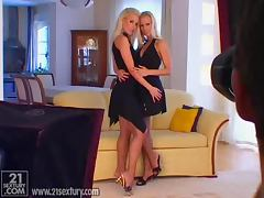 Two long legged blondes in fishnets pose for the camera tube porn video