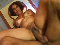Busty brunette mature eats cock and gets drilled by big cock