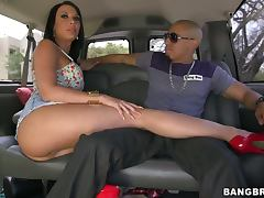 Two kinky brunette girls have an amazing threesome sex in a bus