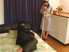 Anal sex with the Japanese maid tube porn video