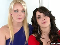 Natalie Heart and Zoey Paige suck a cock before taking it in their pussies