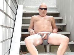 Outdoor stairwell jerk off