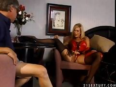 Two men are more than enough for a sexy blond Amber Lynn