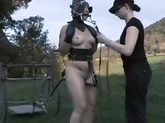 Busty honey gets her face covered with some freaky mask and fucked tube porn video