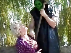 Granny gets a lesson from masked man porn tube video