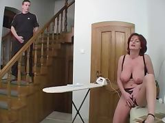 Redhead Granny Beauty Anal On Stairs