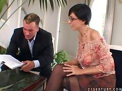 Eva Black the hot brunette in glasses gets butt fucked