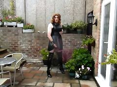 Aliosn wanking in PVC Dress and Thigh Boots porn tube video