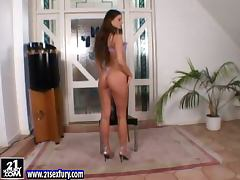 Simony Diamond the girl in lilac lingerie toys herself