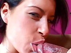 Bedroom, Bedroom, Blowjob, Brunette, Cumshot, Small Tits