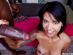 Dana Vespoli lets a black stud eat her snatch before he rips it apart
