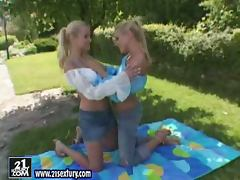 Countryside romance with two sexy blond lesbians tube porn video