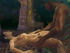 Erotic animation with sexy human in a group sex with alliens
