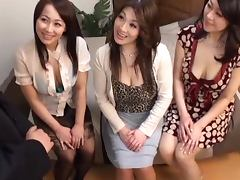 Three Japanese milfs play with some clothed guy's hard prick porn tube video