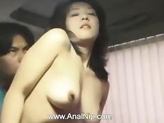 Hairy chinese girl having holes toyed