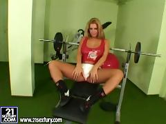 Gorgeous Dorothy Black toys both holes in a gym
