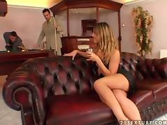 Sexy Sarah James gets fucked hard by two businessmen