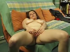 Busty French girl fingers and gapes her pussy at the casting