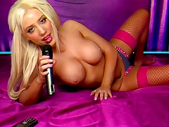 Sexy Blonde Phonesex Hottie In Pink Lingerie