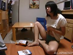 Naughty Japanese girl sucks a cock and gets fucked doggystyle tube porn video