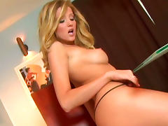Hot blonde Carli Banks is banging her shaved hole