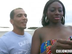 Black beauty finds a guy on the street to fuck