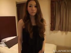 Beautiful Japanese girl on high heels rides a dick