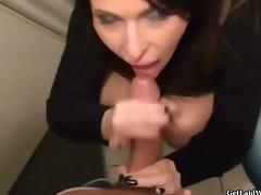 Beautiful French paying blowjob