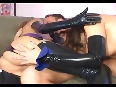 Two girls in latex lingerie and gloves fucking porn tube video