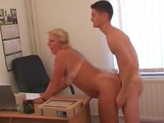Fat mature blonde gets fucked by younger colleague tube porn video