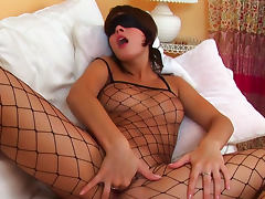Banana, Banana, Boobs, Brunette, Fingering, Fishnet