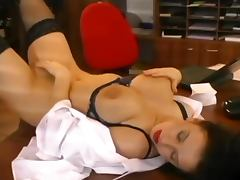 Bra, Big Tits, Bra, Brunette, Desk, Doggystyle