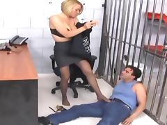 Officer footjob and fucking in ripped up nylons tube porn video