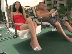 Shalina Divine gets two dicks to play with on the poolside